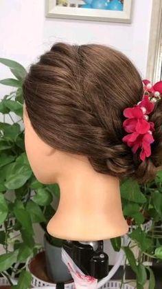 Easy Hairstyle Video, Bun Hairstyles For Long Hair, Braids For Short Hair, Braided Hairstyles, Hair Twist Styles, Front Hair Styles, Medium Hair Styles, Updos For Medium Length Hair Tutorial, Hair Tutorials For Medium Hair