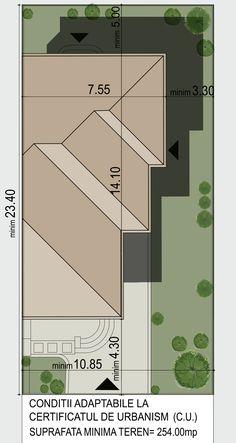 Varianta de amplasare pe teren pentru locuinta cu etaj, Model 122mp utili |Site plan| House Roof Design, Architecture Drawing Art, Modern Homes, Small Houses, Home Projects, Blinds, Floor Plans, Wall, Houses