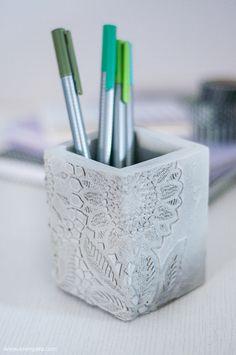 DIY Laced Concrete Pen Holder