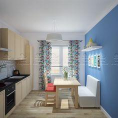 """Готовый дизайн проект кухни для однокомнатной квартиры. Проект """"Краски для двоих""""."""