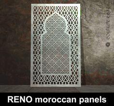 RENO Moroccan laser cut metal screens – laser cut screens for architectural and home interiors Laser Cut Screens, Laser Cut Panels, Laser Cut Metal, Laser Cutting, Morrocan Decor, Moroccan Art, Moroccan Style, Art Deco Wall Art, Art Deco Mirror