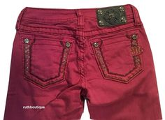 Miss Me Girls / Kids Size 10 Burgundy Embellished Skinny Jeans NWT #MissMe #SlimSkinny #Everyday