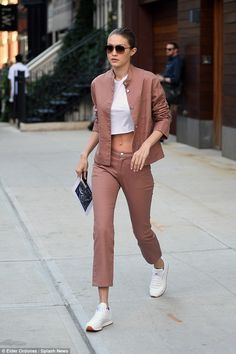 Keep it cool in cropped jeans like Gigi #DailyMail Click 'Visit' to buy now