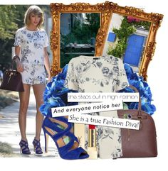 A fashion look from October 2014 featuring lightweight shirts, floral printed shorts and handbag purse. Browse and shop related looks. Taylor Swift Costume, Straight Bangs, Taylor Swift Style, Signature Look, Feminine Dress, Diva Fashion, Rebecca Taylor, Girly Girl, Her Style