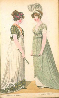 Morning Dress and Evening Dress, June 1800, Fashions of London & Paris