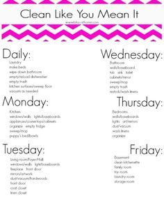 Cleaning Schedule Printable by mandy