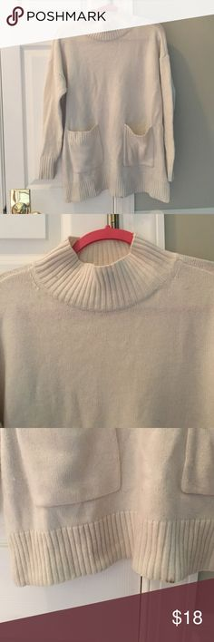 Ann Taylor sweater  a cozy white turtleneck sweater with pockets. slightly oversized. 56% wool and 13% cashmere. defects include small stains at the top and bottom shown in the photos but nothing too bad, overall good condition. price reflects these defects Ann Taylor Sweaters