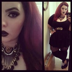 tessmunster:  Working at MAC today. I will sleep when I'm dead.  Check out Tess Munster in our Punk Priestess Necklace and Over the Knee Leggings!