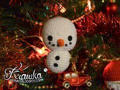 Krawka: Snowman Christmas Tree ornament crochet free pattern