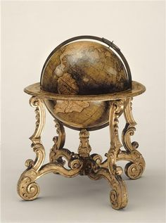 Paper mache terrestrial globe with the arms of the Orleans family.