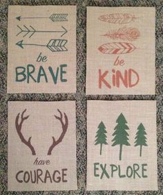 children Quotes Adventure - Have Courage, Be Brave, Explore, Be Kind Woodland Burlap Fabric Print Set Rustic Decor Nursery Decor Home Decor Camping Baby Boy Rooms, Baby Boy Nurseries, Baby Nursery Ideas For Boy, Baby Room Themes, Toddler Rooms, Kids Rooms, Burlap Fabric, Woodland Nursery, Farm Nursery