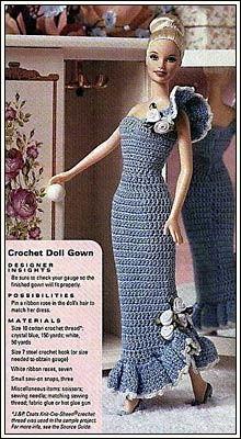 Crochet dress for Barbie Crochet Doll Dress, Crochet Barbie Clothes, Knitted Dolls, Barbie Gowns, Barbie Dress, Barbie Clothes Patterns, Clothing Patterns, Dress Patterns, Crochet Patterns