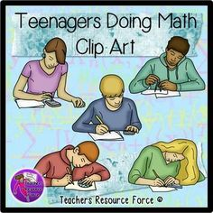 Teenagers Doing Math Clip Art - Color and black line