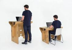 worclip:  Portable Cardboard Standing Desk (2014) by Fraser Callaway, Oliver Ward, and Matt Innes ofRefold on Kickstarter  Refold is proud to present its cardboard standing desk. Being 100% recyclable and completely NZ made it showcases the perfect combination of innovation and environmental awareness. This desk enables your lifestyle. It folds into a lightweight, compact carry case, allowing you to work and live the way you want!   With aspirations of using this desk for disaster relief…