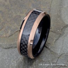 Two tone Tungsten Wedding Band, Black Carbon Fiber Ring, Mens Wedding Ring, 8mm Mens Tungsten Ring, Rose Gold Tungsten Ring, Carbon Ring by LALaserEngraving on Etsy