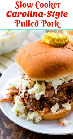 Slow Cooker Carolina-Style Pulled Pork- A moist and tender, slow-cooked pulled pork with a Carolina-style, vinegar based BBQ sauce. A moist and tender, slow-cooked pulled pork with a Carolina-style, vinegar based BBQ sauce. Slow Cooked Pulled Pork, Pulled Pork Recipes, Slow Cooked Meals, Slow Cooker Pork, Pulled Pork Sauce, Slow Cooking, Thai Cooking, Cooking Salmon, Vinegar Based Bbq Sauce