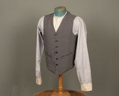 Vintage 1950s Men's Vest  Navy & White Check with by jauntyrooster