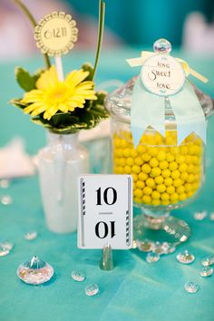 Cute and colorful #centerpieces for this #vintage inspired wedding
