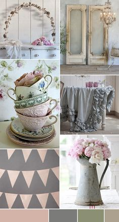 Place flowers in old watering cans, mason jars and have on tables for center pieces as well as candy table. Only use pastel colored flowers: pinks, creams, yellows
