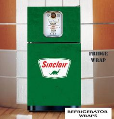 Vintage gas pump Sinclair green refrigerator wrap sticker