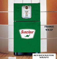 Vintage gas pump Sinclair green refrigerator wrap sticker