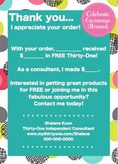 ThirtyOne Customer Bag Tag by HappyDotCreatives on Etsy, $10.00