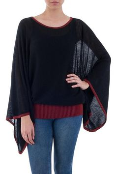 Casual Sweaters, Black Sweaters, Sweaters For Women, Autumn Fashion Casual, Fall Fashion Trends, Fall Outfits, Fashion Outfits, Burgundy Sweater, Baby Alpaca