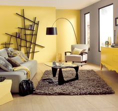 30 Awesome Yellow Living Room Color Schemes That People Never Seen - Barthram News Living Room Color Schemes, Paint Colors For Living Room, Small Living Room Design, Living Room Designs, Design Room, Studio Interior, Interior Design, Interior Paint, Grey And Yellow Living Room