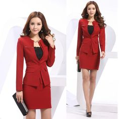 New 2014 Spring Formal Red Blazers Women Skirt Suits Elegant Fashion Ladies Office Suits for Work Wear Sets Slim Free Shipping