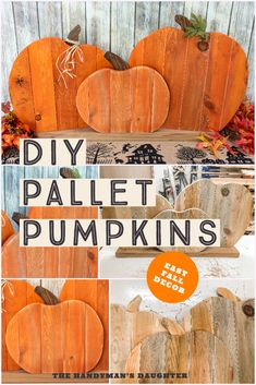Make this fun wood pumpkin decor idea out of free pallets! It's a great fall craft idea for your porch or mantle that you can make with your kids! Get the step-by-step tutorial at The Handyman's Daughter!
