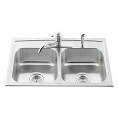 Kohler Toccata 22-In X 33-In Stainless Steel Double-Basin Stainless Steel Drop-In 4-Hole Residential Kitchen Sink