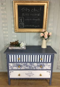 Whimsical, hand-painted, four-drawer vintage dresser, painted in Old Violet and Old White Annie Sloan Chalk Paint. Stripes, frottage, and stencilling give this unique piece a whimsical feel. It has been moderately distressed, and sealed with clear wax.