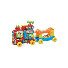 Play and learn When your kid is ready to both play and learn, it's time to set them up with a VTech playset. ThisSit-to-Stand Ultimate Alphabet Train is a toy that offers multiple learning opportunities and is even designed to grow with your child. It can be used for floor play or as a ride on, offering 10 activities along with fun features that help your kiddo learn about letters, numbers, and colors while developing gross and fine motors skills. It has a toy walkie talkie and the c Baby Learning Toys, Learning The Alphabet, Touches De Piano, Ride On Train, Learning Express, Vtech Baby, Toys R Us Canada, Locomotive, Playrooms