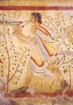 Musician playing the Pipes, from the Tomb of the Leopard, c.490 BC (wall painting) Etruscan, (5th century BC) / Tarquinia, Lazio, Italy / Giraudon