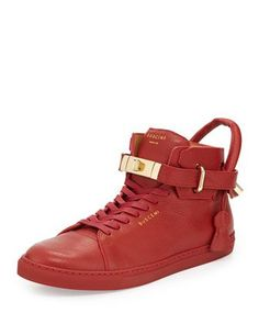 100mm High-Top Sneaker, Red by Buscemi at Neiman Marcus.