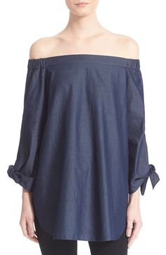 Tibi Off the Shoulder Denim Tunic available at #Nordstrom