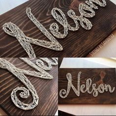 This Script style font is one of my favorite style boards to complete. I love all of the swirls and how they flow together. #stringart #stringsbysamantha #handmade #handmadedecor #shophandmade #shopsmall #etsyshop #woodart #woodworker #wooddecor #woodwork #woodandstrings #supportsmall #smallbusiness #girlboss #etsy #woodart #wallart #walldecor #swirls #favorite #scriptstyle #custom #customorder #customizable de stringsbysamantha