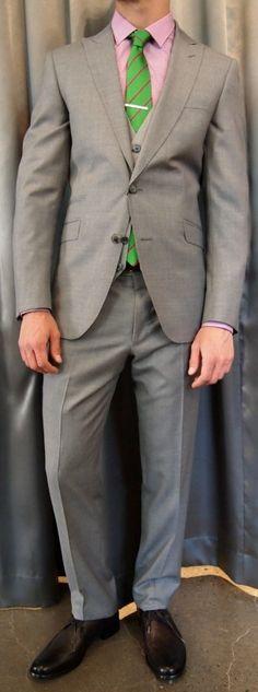 Not Your Father's Suit peak lapel suit $995, vest $195 from Gotstyle Menswear.