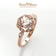 We adore this Brian Gavin Diamonds 14k rose gold prong set ring featuring an 8x7mm oval checkerboard morganite gemstone.