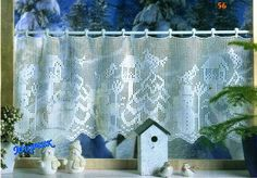 Christmas curtain, filet work with diagrams