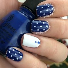 Classic navy and white polka dots nails