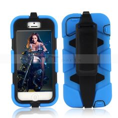 Blue Rugged Heavy Duty Case with Belt Clip for iPhone 5S