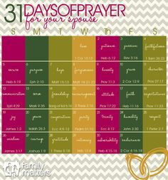 31 Days of Prayer for your Spouse - 2014 Calendar INCLUDING BIBLE VERSES!  #31DOP