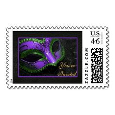 Purple Masquerade Mask Halloween Party Postage