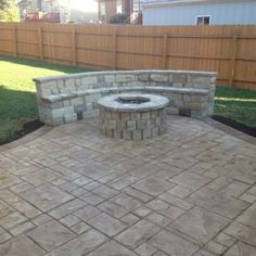 Exceptionnel Stones Benchseat At Stamped Concrete Patio | 403 | Patio Decor Ideas