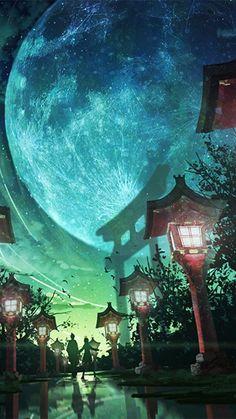 Moon, night, street lights, artwork, 720x1280 wallpaper
