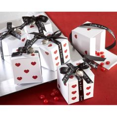 """Lucky in Love"" Dice Favor Boxes with Imprinted Ribbon and Heart Charm (Set of 24) [528-28033NA Buy Dice Favor Boxes] : Wholesale Wedding Supplies, Discount Wedding Favors, Party Favors, and Bulk Event Supplies"