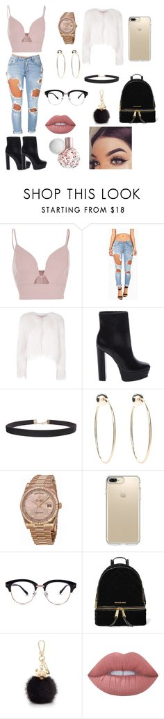 """""""Ariana Grande Style inspired"""" by melodygrace14 ❤ liked on Polyvore featuring River Island, Machine, Giamba, Schutz, Humble Chic, Bebe, Rolex, Speck, MICHAEL Michael Kors and Furla"""