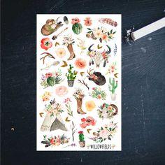 36 Boho Chic Decorative Planner Stickers [222]