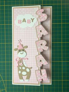 handmade baby girl card ... adorable die cut giraffe in a party hat ... name spelled with die cut letters along the opening ... delightful! Kids Birthday Cards, Scrapbook Birthday Cards, Baby Birthday Card, Scrapbook Cards, Handmade Baby Cards, Baby Girl Cards, New Baby Cards, Boy Cards, Kids Cards